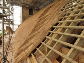New thatch roof installation