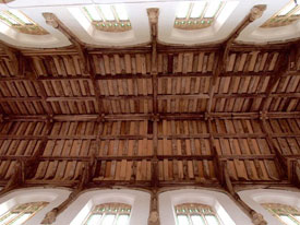 Repaired nave roof timbers at Potter Heigham